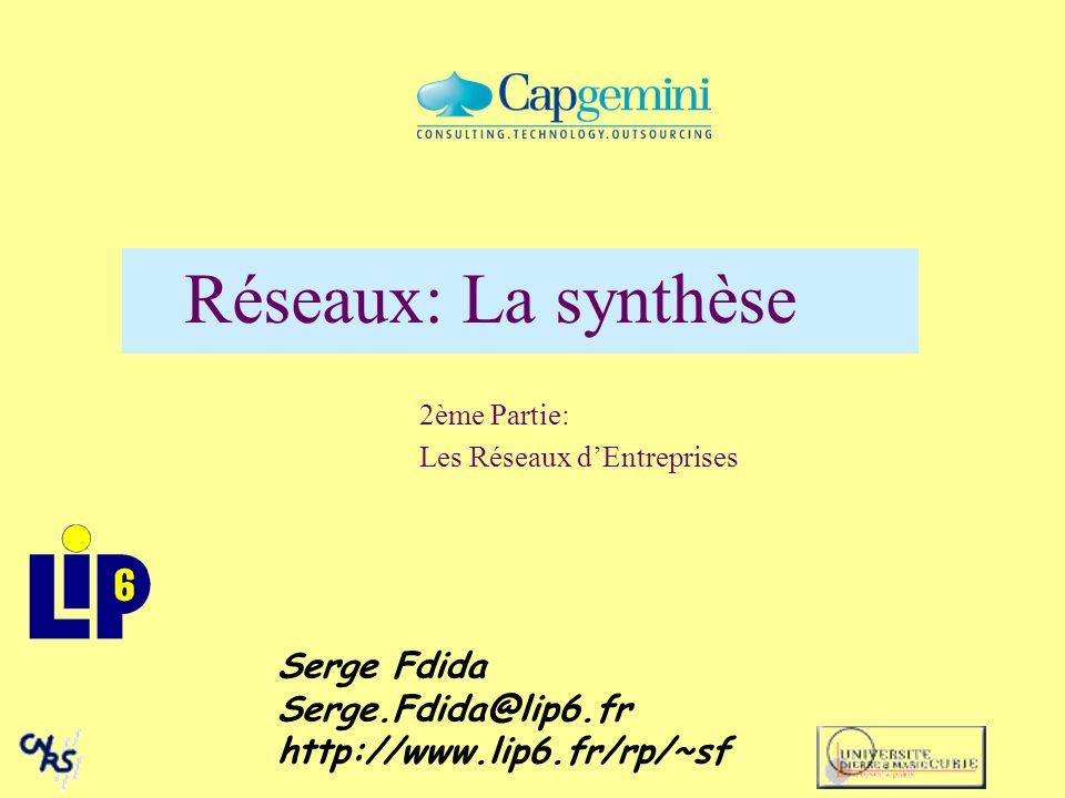 Réseaux: La synthèse 2ème Partie: Les Réseaux dEntreprises Serge Fdida Serge.Fdida@lip6.fr http://www.lip6.fr/rp/~sf
