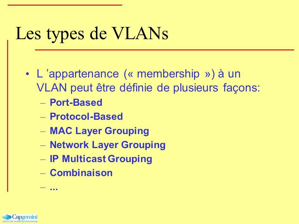 Les types de VLANs L appartenance (« membership ») à un VLAN peut être définie de plusieurs façons: – Port-Based – Protocol-Based – MAC Layer Grouping
