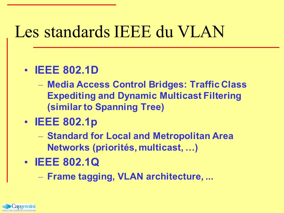 Les standards IEEE du VLAN IEEE 802.1D – Media Access Control Bridges: Traffic Class Expediting and Dynamic Multicast Filtering (similar to Spanning T