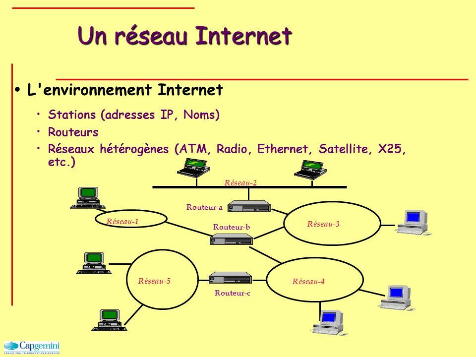 Un réseau Internet L'environnement Internet Stations (adresses IP, Noms) Routeurs Réseaux hétérogènes (ATM, Radio, Ethernet, Satellite, X25, etc.) Rou