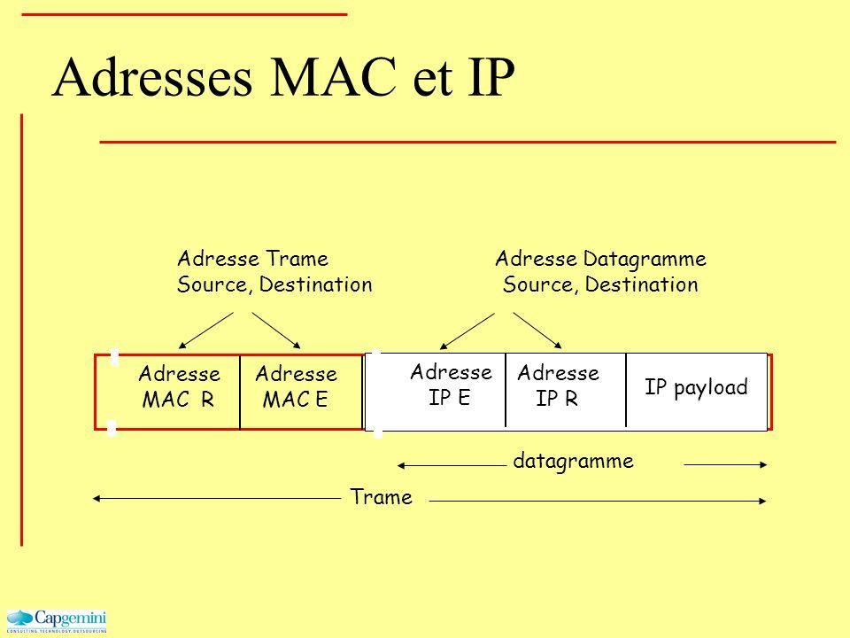 Adresse MAC R Adresse MAC E Adresse IP E Adresse IP R IP payload datagramme Adresses MAC et IP Trame Adresse Trame Source, Destination Adresse Datagra