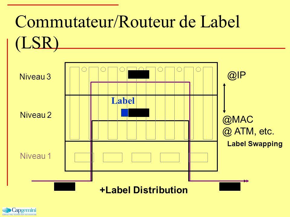 Commutateur/Routeur de Label (LSR) Niveau 3 Niveau 2 Niveau 1 Label Swapping @IP @MAC @ ATM, etc. +Label Distribution Label