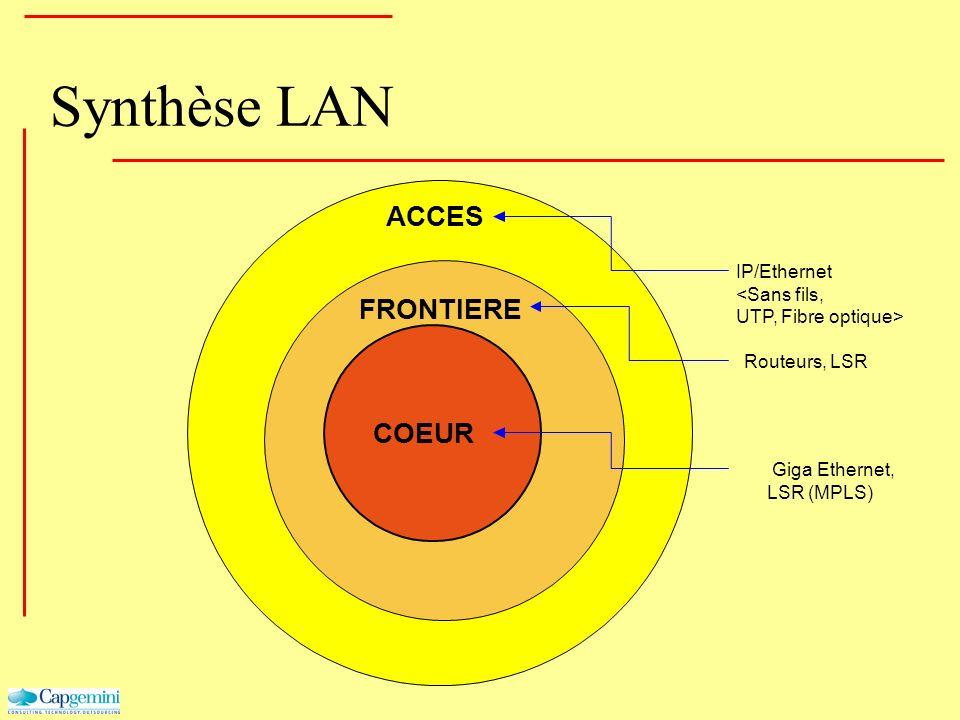 ACCES Synthèse LAN FRONTIERE COEUR Giga Ethernet, LSR (MPLS) Routeurs, LSR IP/Ethernet <Sans fils, UTP, Fibre optique>