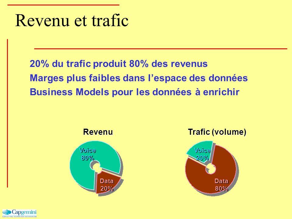 Revenu et trafic 20% du trafic produit 80% des revenus Marges plus faibles dans lespace des données Business Models pour les données à enrichirRevenu