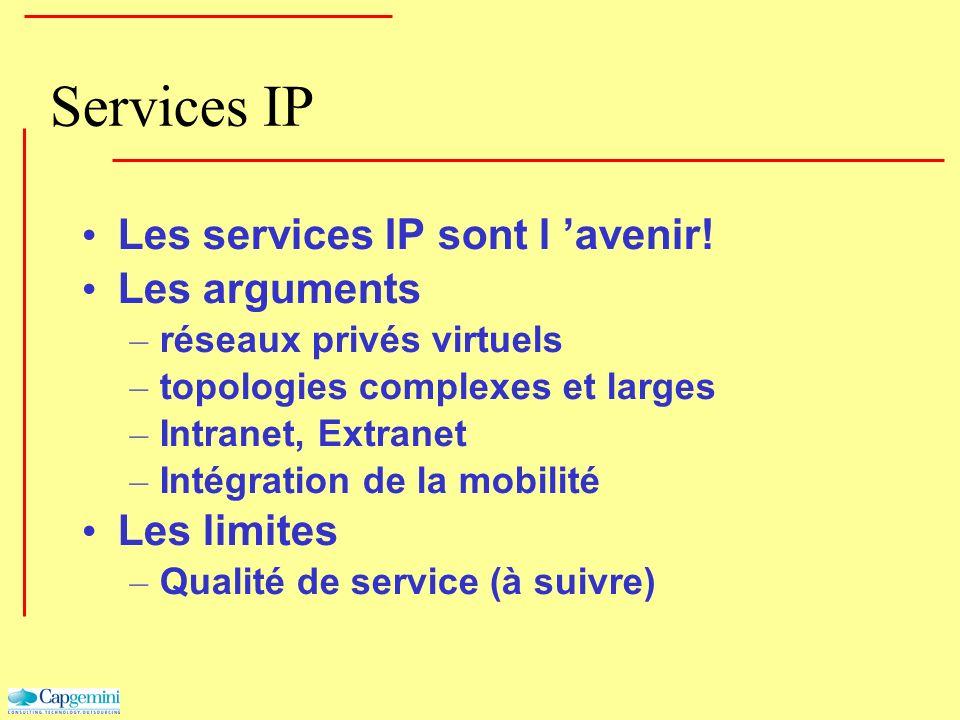 Services IP Les services IP sont l avenir! Les arguments – réseaux privés virtuels – topologies complexes et larges – Intranet, Extranet – Intégration