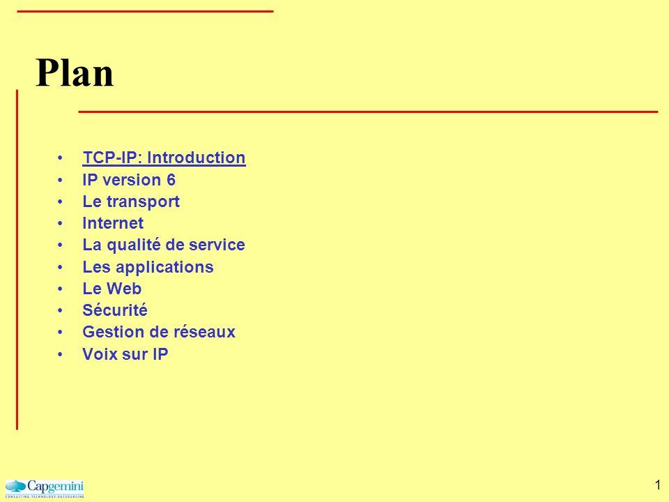 1 Plan TCP-IP: Introduction IP version 6 Le transport Internet La qualité de service Les applications Le Web Sécurité Gestion de réseaux Voix sur IP