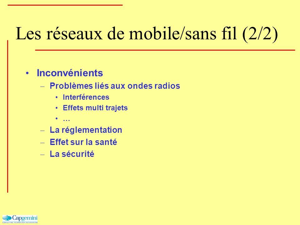 Les réseaux de mobile/sans fil (2/2) Inconvénients – Problèmes liés aux ondes radios Interférences Effets multi trajets … – La réglementation – Effet