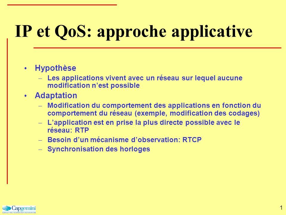 1 IP et QoS: approche applicative Hypothèse – Les applications vivent avec un réseau sur lequel aucune modification nest possible Adaptation – Modific