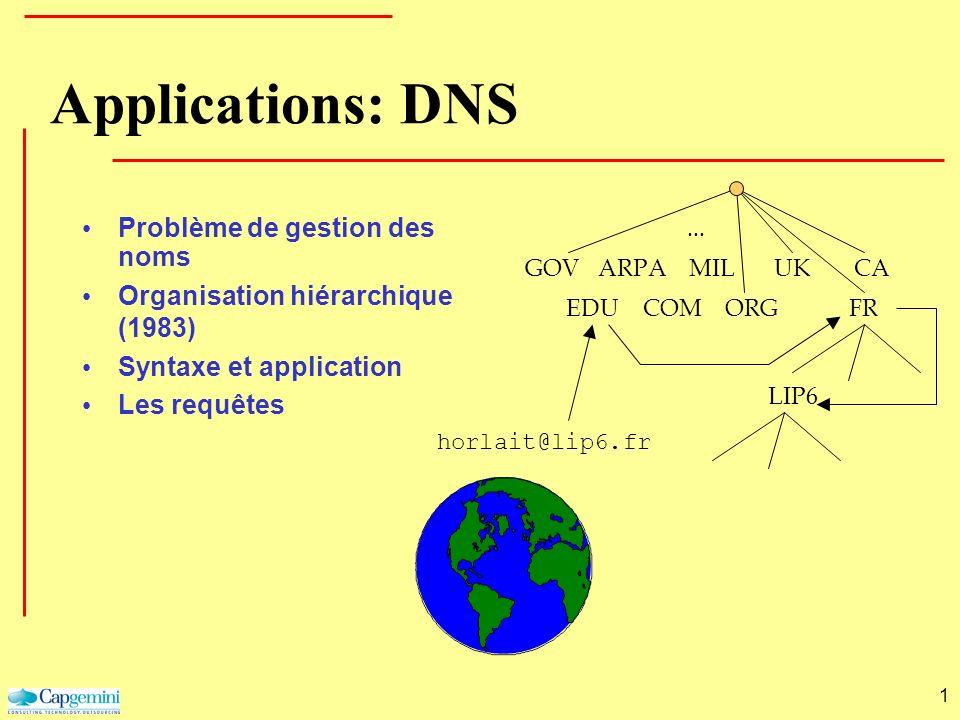 1 GOV EDU ARPA COM MIL ORG UK FR CA... LIP6 horlait@lip6.fr Applications: DNS Problème de gestion des noms Organisation hiérarchique (1983) Syntaxe et
