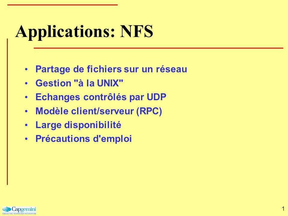 1 Applications: NFS Partage de fichiers sur un réseau Gestion