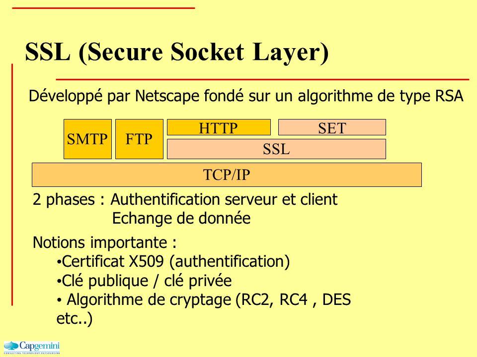 SSL (Secure Socket Layer) Développé par Netscape fondé sur un algorithme de type RSA 2 phases : Authentification serveur et client Echange de donnée N