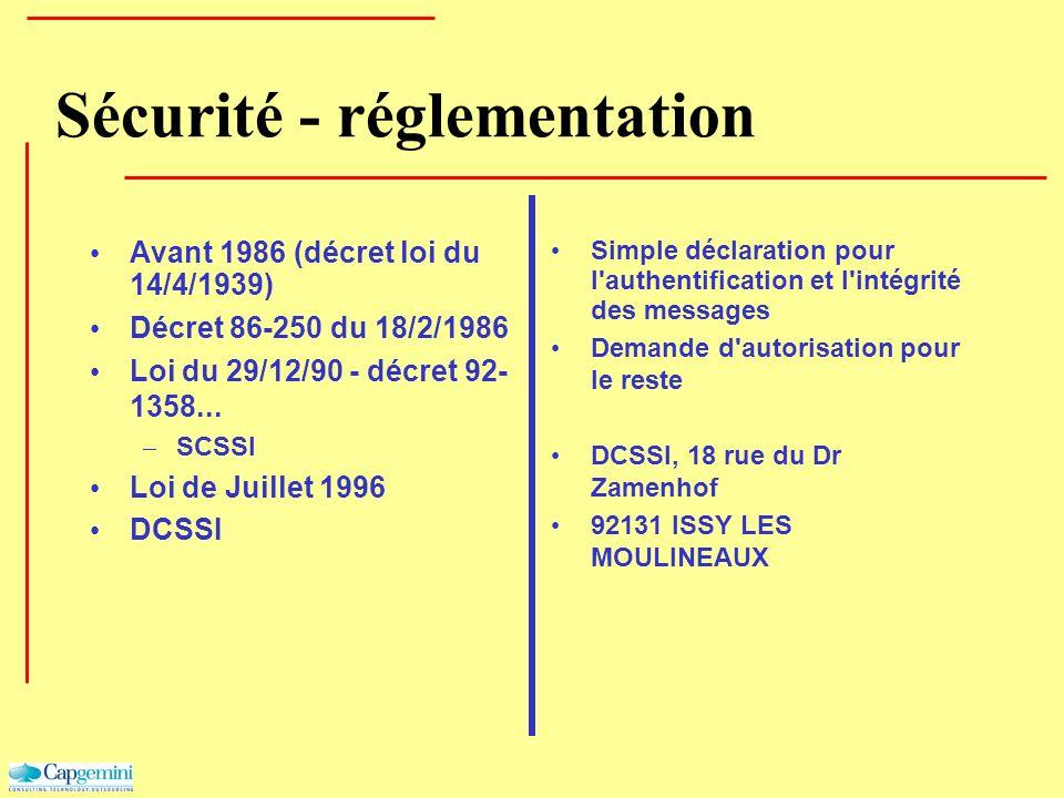 Sécurité - réglementation Avant 1986 (décret loi du 14/4/1939) Décret 86-250 du 18/2/1986 Loi du 29/12/90 - décret 92- 1358... – SCSSI Loi de Juillet