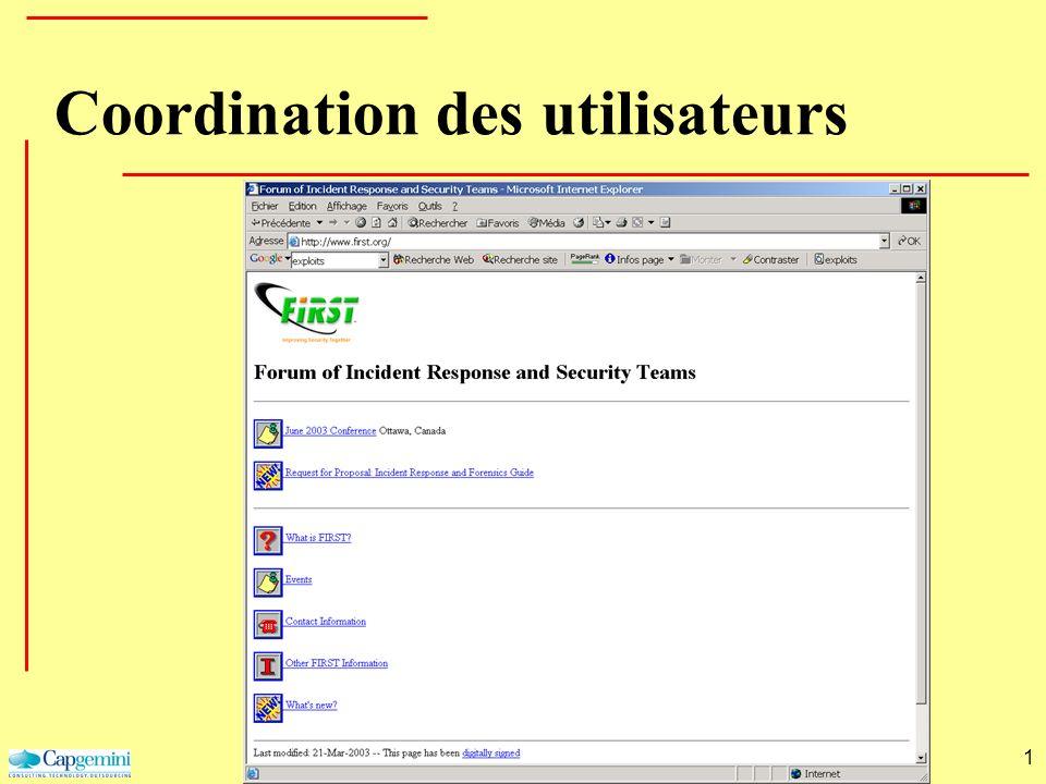 1 Coordination des utilisateurs
