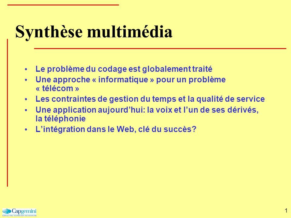 1 Synthèse multimédia Le problème du codage est globalement traité Une approche « informatique » pour un problème « télécom » Les contraintes de gesti