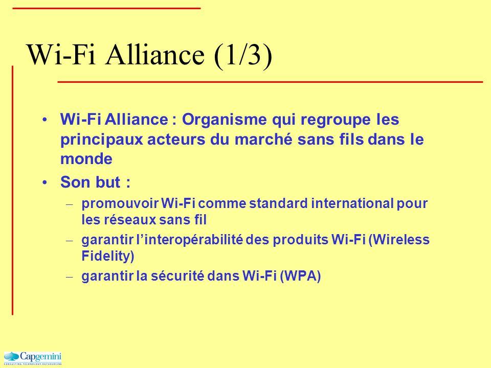 Wi-Fi Alliance (1/3) Wi-Fi Alliance : Organisme qui regroupe les principaux acteurs du marché sans fils dans le monde Son but : – promouvoir Wi-Fi com