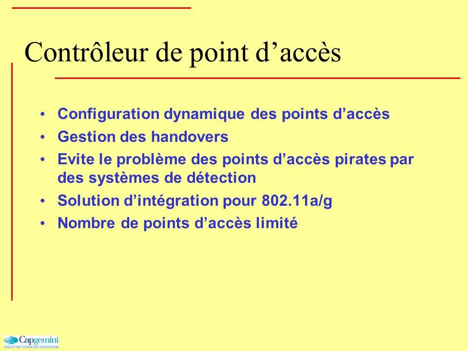 Contrôleur de point daccès Configuration dynamique des points daccès Gestion des handovers Evite le problème des points daccès pirates par des système
