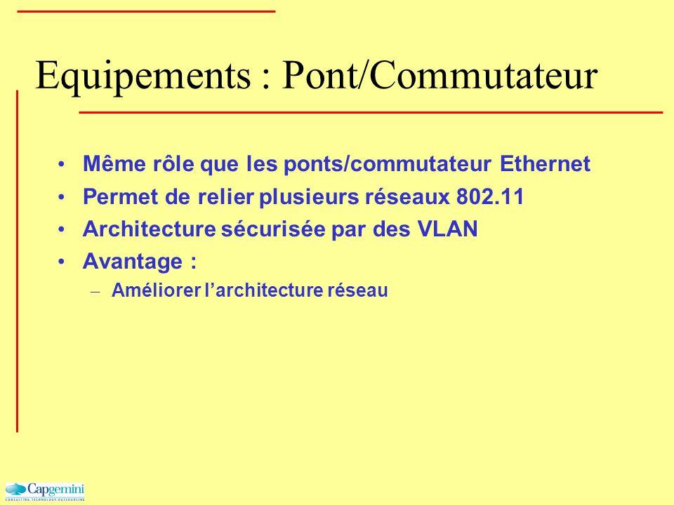 Equipements : Pont/Commutateur Même rôle que les ponts/commutateur Ethernet Permet de relier plusieurs réseaux 802.11 Architecture sécurisée par des V
