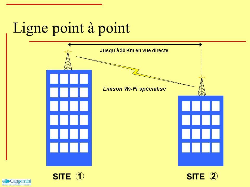 Ligne point à point Jusquà 30 Km en vue directe SITE 1 2 Liaison Wi-Fi spécialisé