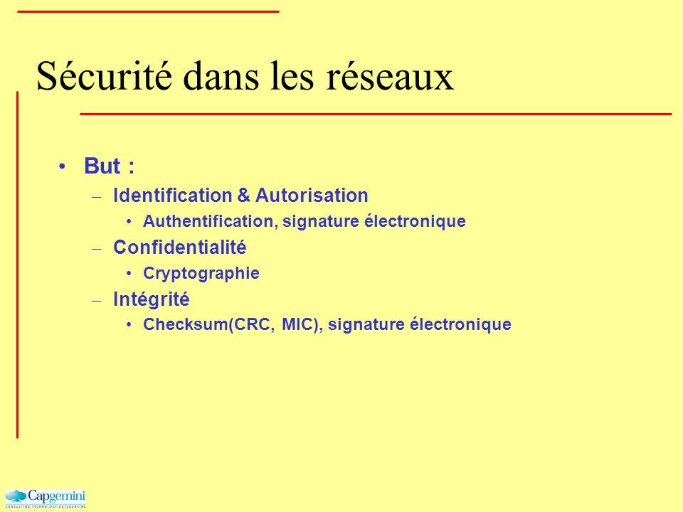 Sécurité dans les réseaux But : – Identification & Autorisation Authentification, signature électronique – Confidentialité Cryptographie – Intégrité C
