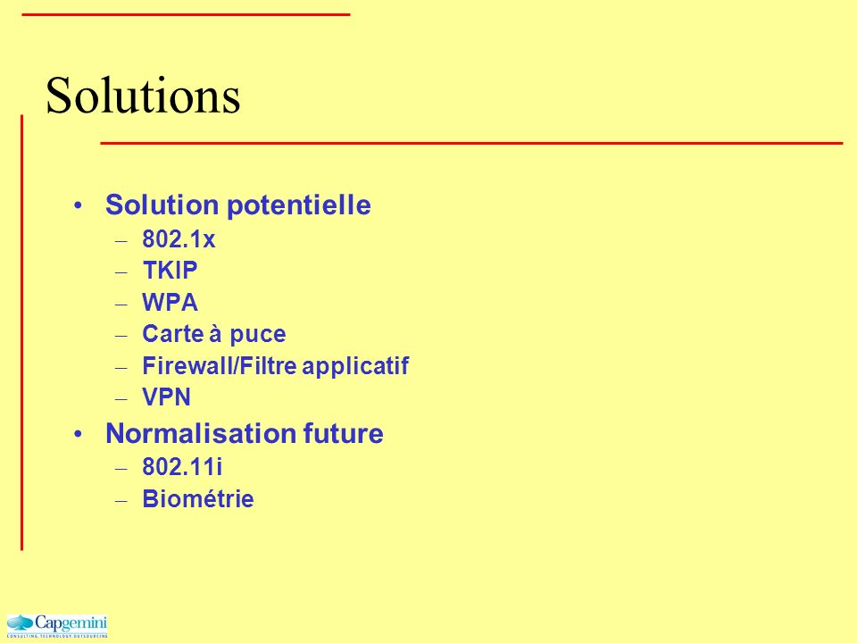 Solutions Solution potentielle – 802.1x – TKIP – WPA – Carte à puce – Firewall/Filtre applicatif – VPN Normalisation future – 802.11i – Biométrie