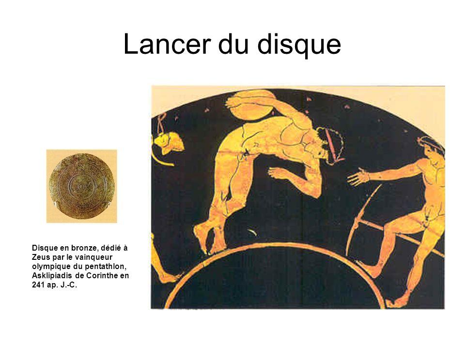 Lancer du disque Disque en bronze, dédié à Zeus par le vainqueur olympique du pentathlon, Asklipiadis de Corinthe en 241 ap. J.-C.