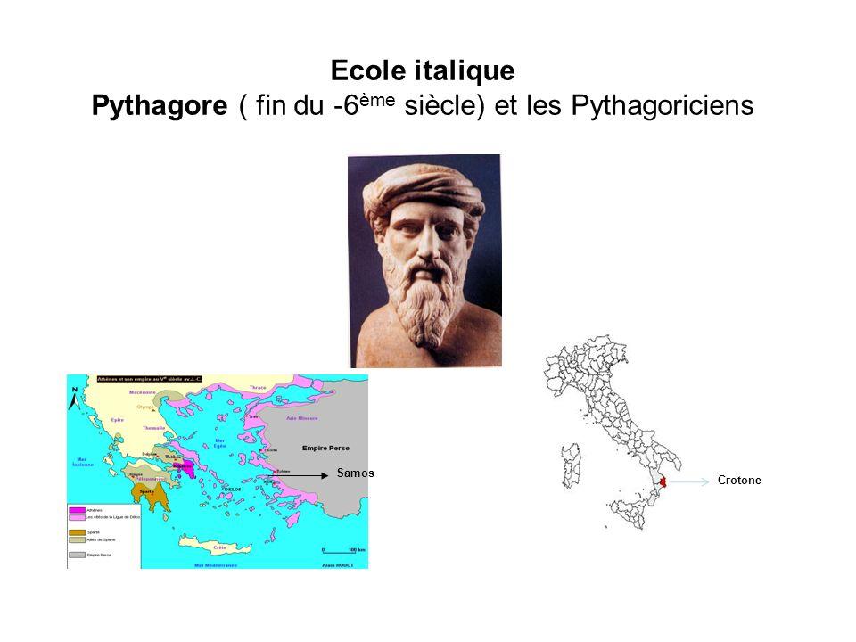 Ecole italique Pythagore ( fin du -6 ème siècle) et les Pythagoriciens Samos Crotone
