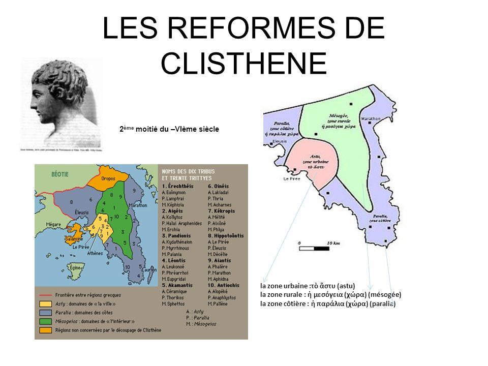 LES REFORMES DE CLISTHENE Clisthène la zone urbaine :τ στυ (astu) la zone rurale : μεσγεια (χρα) (mésogée) la zone côtière : παρλια (χρα) (paralia) 2
