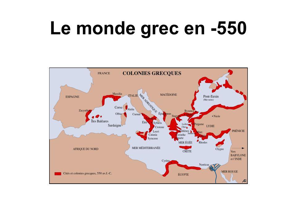 Le monde grec en -550