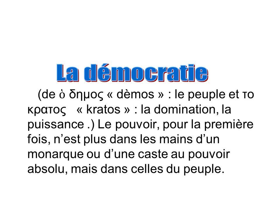 (de δημος « dèmos » : le peuple et το κρατος « kratos » : la domination, la puissance.) Le pouvoir, pour la première fois, nest plus dans les mains du