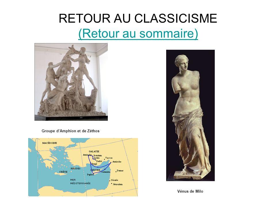 RETOUR AU CLASSICISME (Retour au sommaire) (Retour au sommaire) Groupe dAmphion et de Zéthos Vénus de Milo