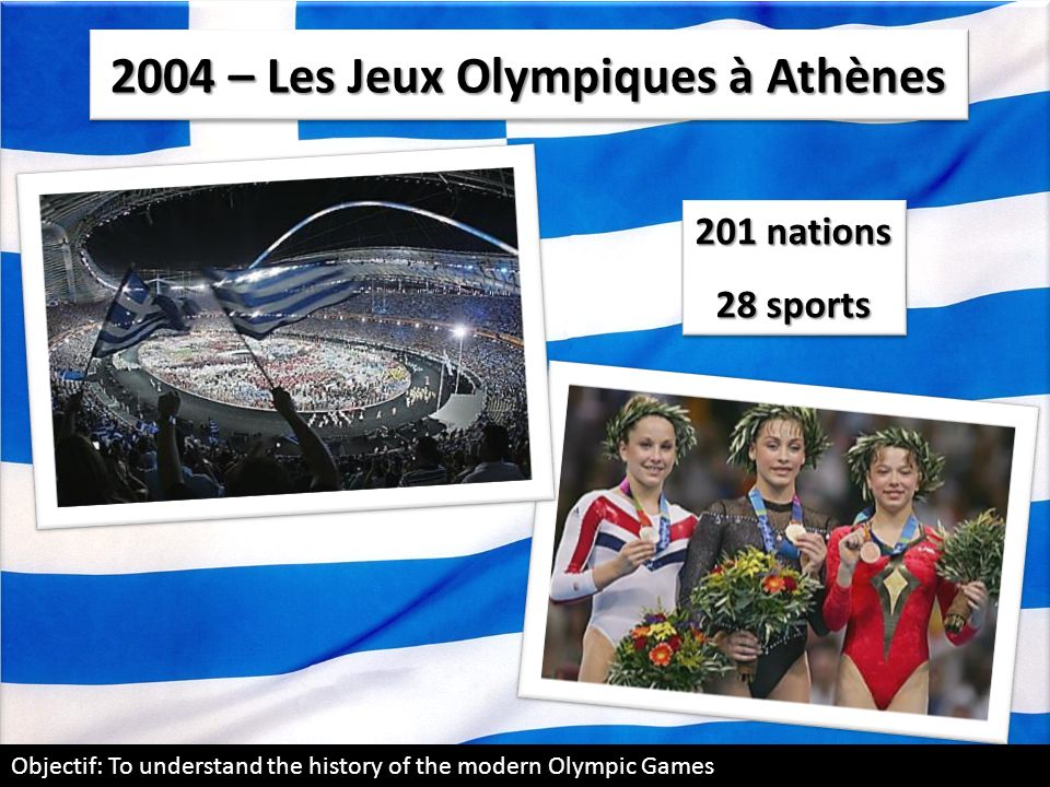 2004 – Les Jeux Olympiques à Athènes 201 nations 28 sports 201 nations 28 sports Objectif: To understand the history of the modern Olympic Games
