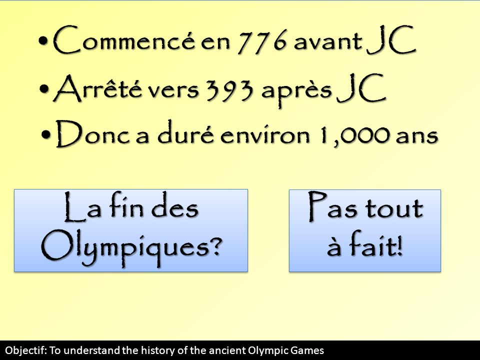Objectif: To understand the history of the modern Olympic Games