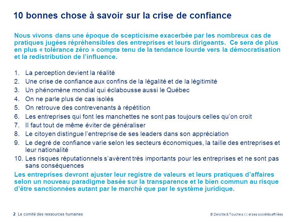 2 Le comité des ressources humaines © Deloitte & Touche s.r.l. et ses sociétés affiliées 10 bonnes chose à savoir sur la crise de confiance Nous vivon