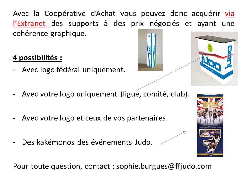 Avec la Coopérative dAchat vous pouvez donc acquérir via lExtranet des supports à des prix négociés et ayant une cohérence graphique. 4 possibilités :