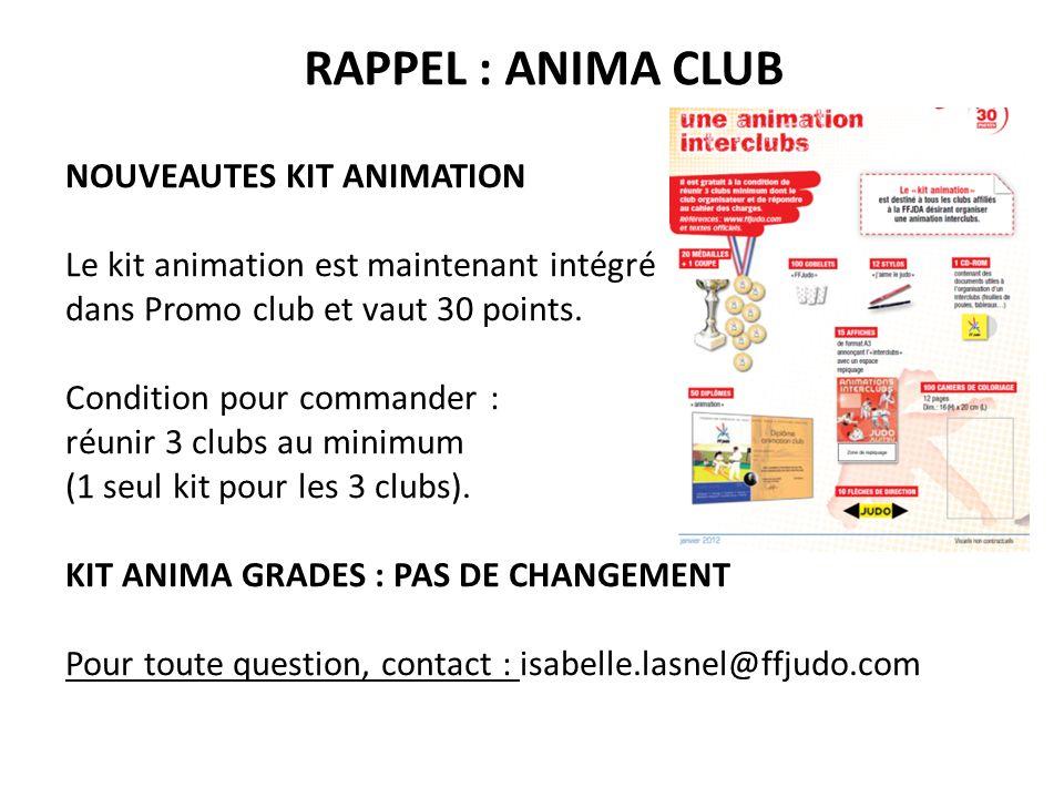 RAPPEL : ANIMA CLUB NOUVEAUTES KIT ANIMATION Le kit animation est maintenant intégré dans Promo club et vaut 30 points. Condition pour commander : réu