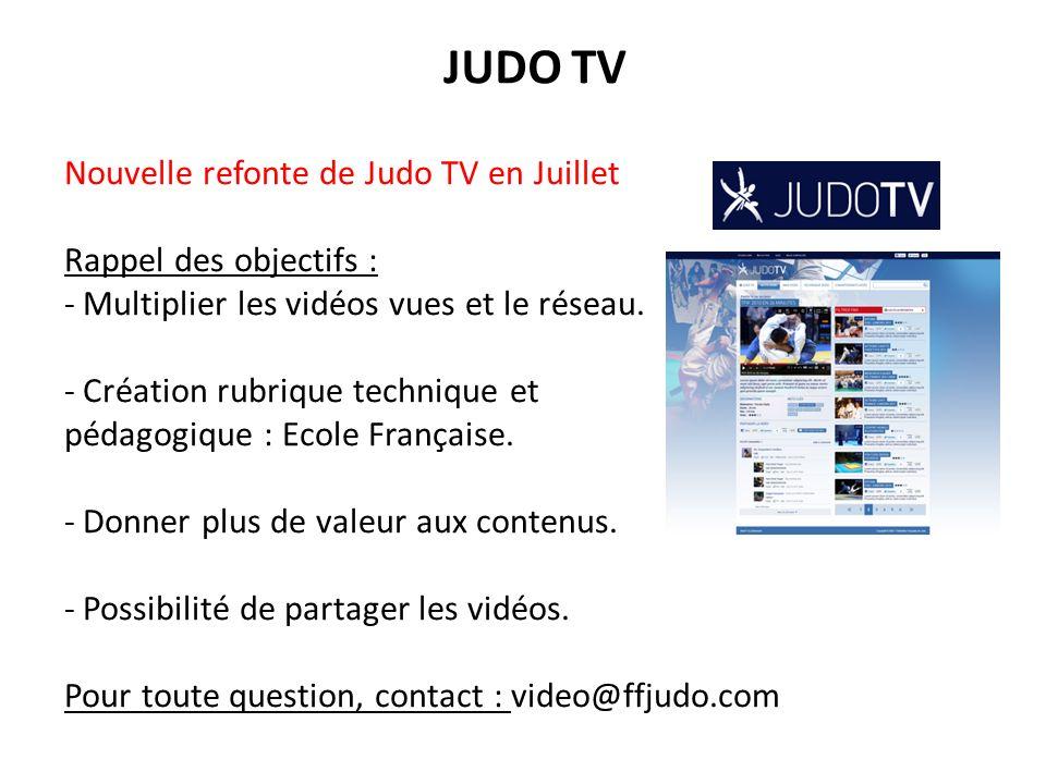 JUDO TV Nouvelle refonte de Judo TV en Juillet Rappel des objectifs : - Multiplier les vidéos vues et le réseau. - Création rubrique technique et péda