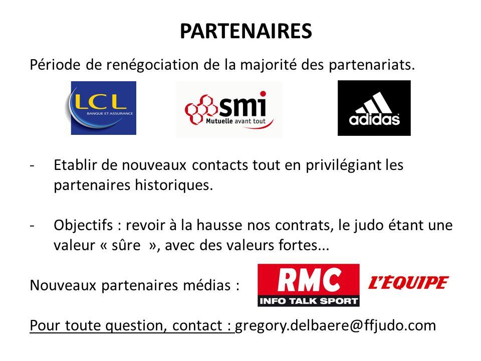 PARTENAIRES Période de renégociation de la majorité des partenariats. -Etablir de nouveaux contacts tout en privilégiant les partenaires historiques.