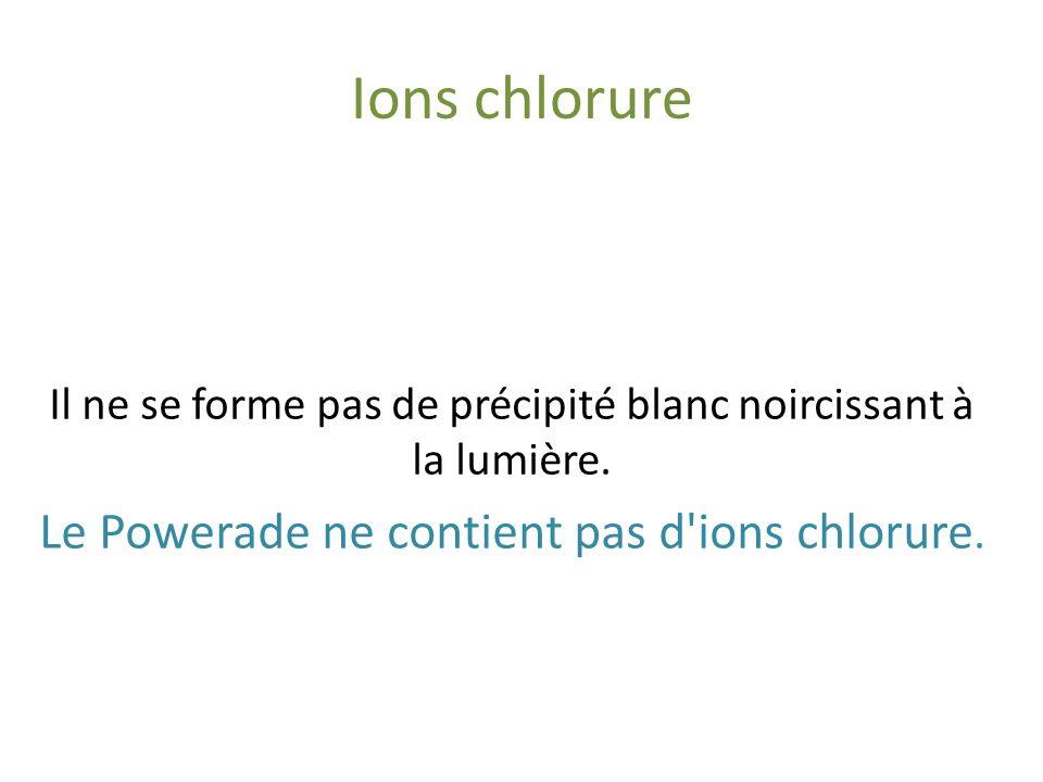 Protides Powerade Sulfate de cuivre (CuSO 4 ) Soude (NaOH) Il n'y a pas de coloration violette. Le Powerade ne contient pas de protides.