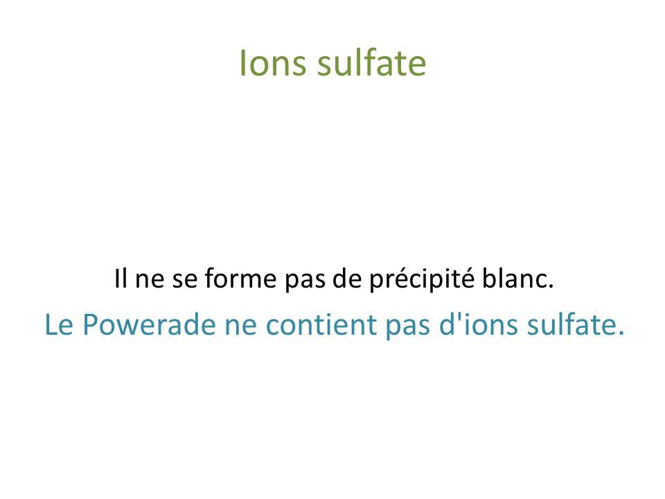 Ions chlorure Powerade Nitrate d'argent (Ag + NO 3- ) Il ne se forme pas de précipité blanc noircissant à la lumière. Le Powerade ne contient pas d'io