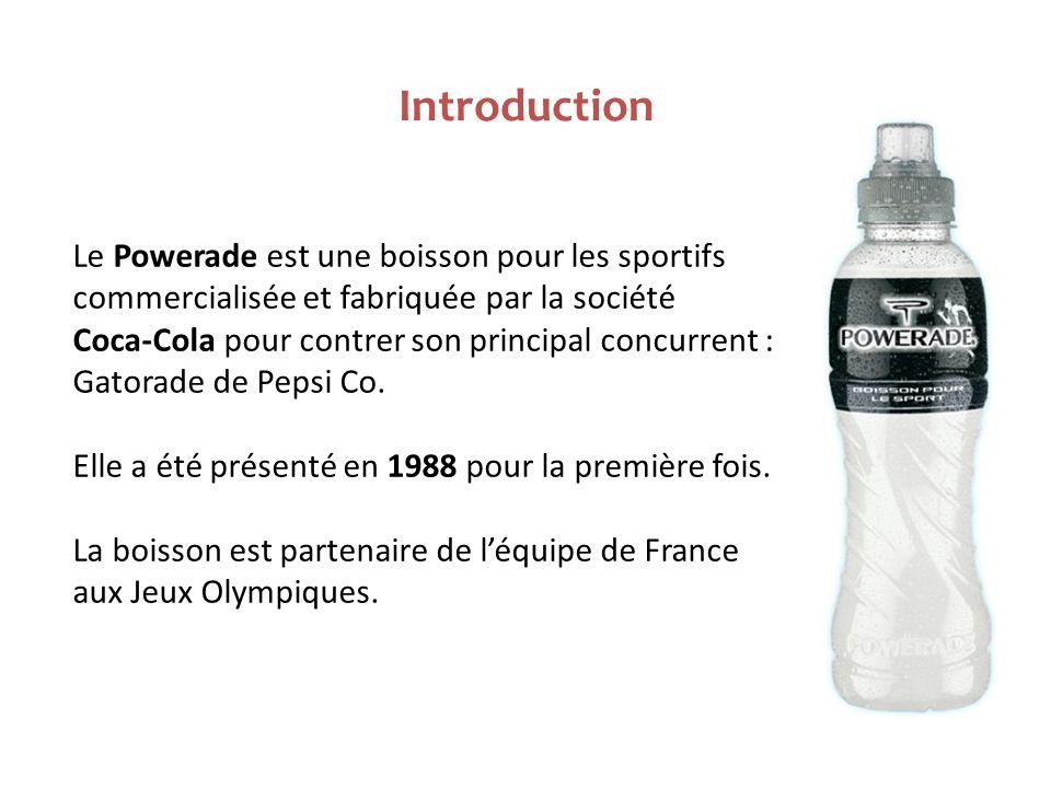 Introduction Le Powerade est une boisson pour les sportifs commercialisée et fabriquée par la société Coca-Cola pour contrer son principal concurrent : Gatorade de Pepsi Co.