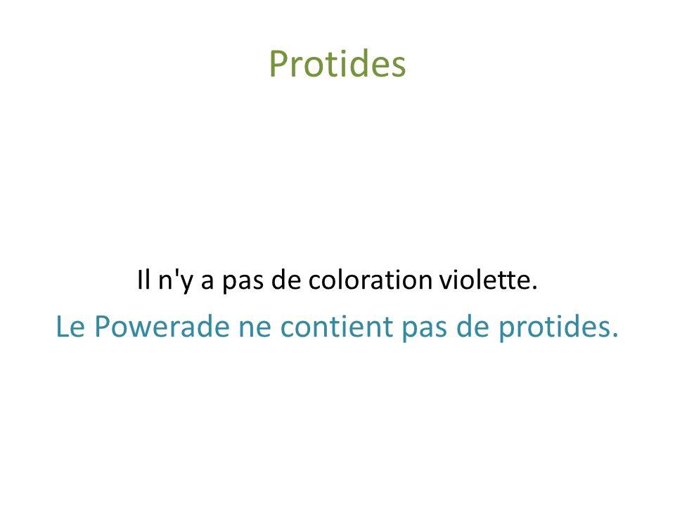 Protides Powerade Sulfate de cuivre (CuSO 4 ) Soude (NaOH) Il n y a pas de coloration violette.