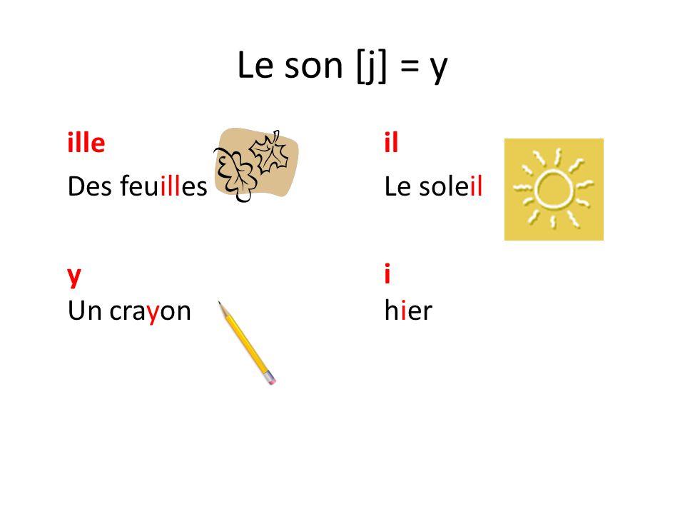 Le son [j] = y illeil Des feuillesLe soleil yi Un crayonhier