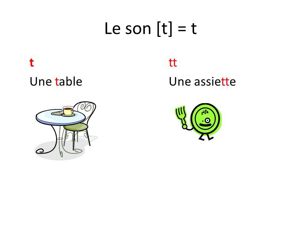 Le son [t] = t ttt Une tableUne assiette