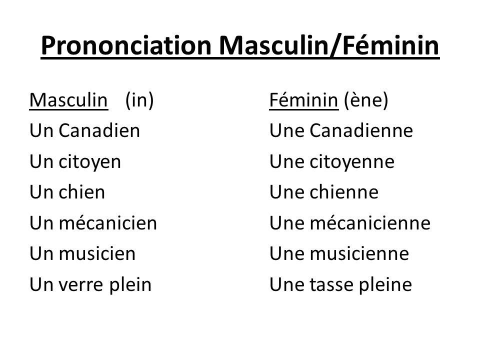 Prononciation Masculin/Féminin Masculin(in)Féminin (ène) Un CanadienUne Canadienne Un citoyenUne citoyenne Un chienUne chienne Un mécanicienUne mécani