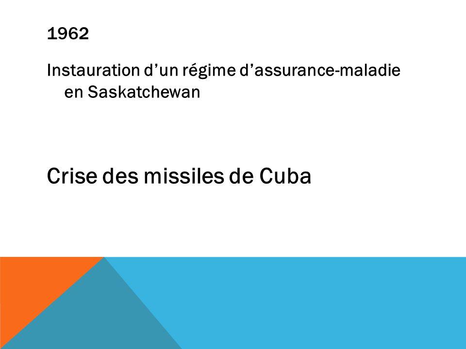 1962 Instauration dun régime dassurance-maladie en Saskatchewan Crise des missiles de Cuba