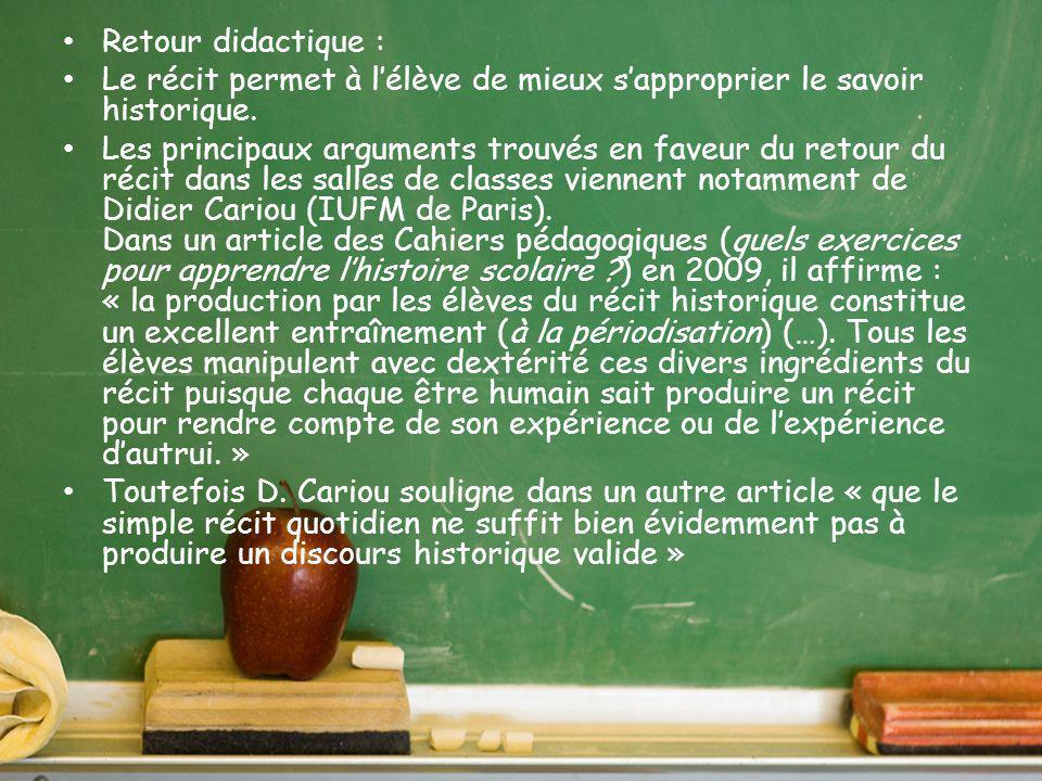 Raconter/Raconter et expliquer Il est possible de renvoyer à Antoine Prost et ses « Douze leçons pour lhistoire ».