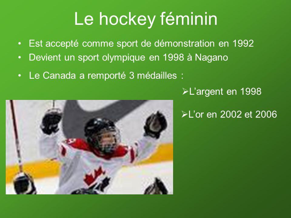 Le hockey féminin Est accepté comme sport de démonstration en 1992 Devient un sport olympique en 1998 à Nagano Le Canada a remporté 3 médailles : Larg