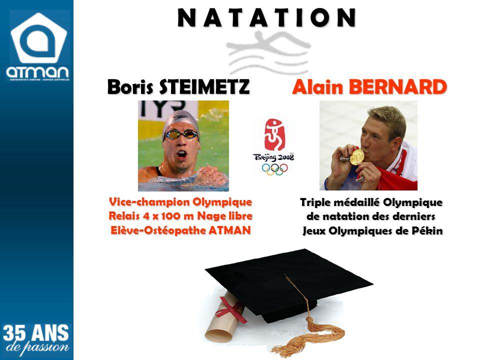N A T A T I O N Triple médaillé Olympique de natation des derniers Jeux Olympiques de Pékin Jeux Olympiques de Pékin Alain BERNARD Boris STEIMETZ Vice