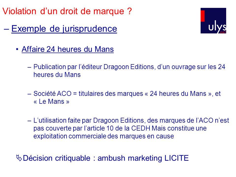 Violation dun droit de marque ? –Exemple de jurisprudence Affaire 24 heures du Mans –Publication par léditeur Dragoon Editions, dun ouvrage sur les 24