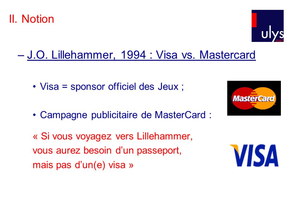 II.Notion –J.O. Lillehammer, 1994 : Visa vs.
